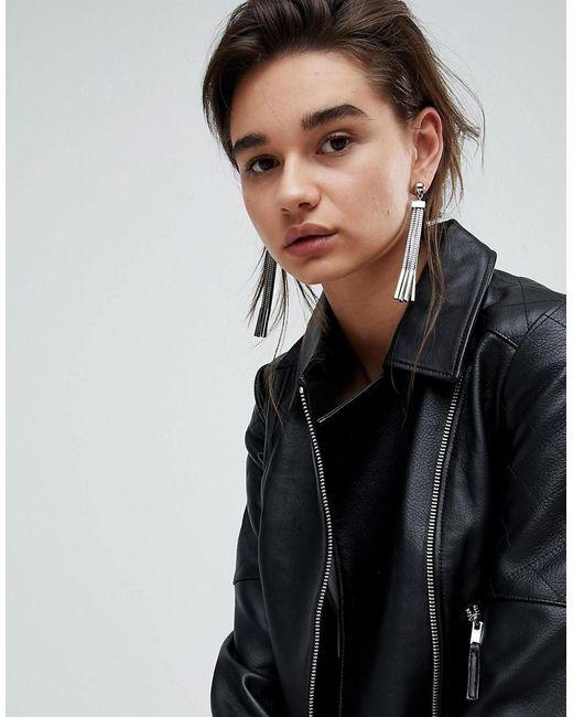ASOS - Metallic Square Chain Tassel Earrings - Lyst