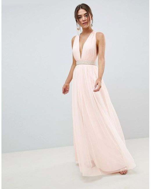45e64212f65 ASOS - Pink Tulle Maxi Dress With Embellished Waist - Lyst ...