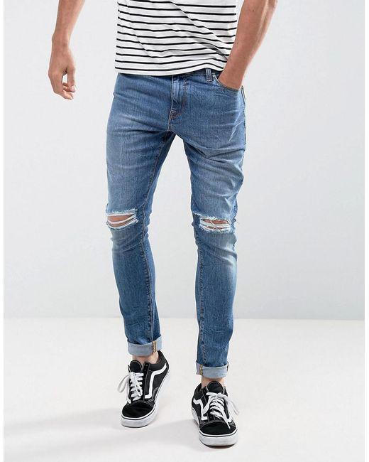 Skinny 12.5oz Jeans With Rips In Dark Blue - Indigo Asos Clearance 100% Guaranteed FskH2i4Gj