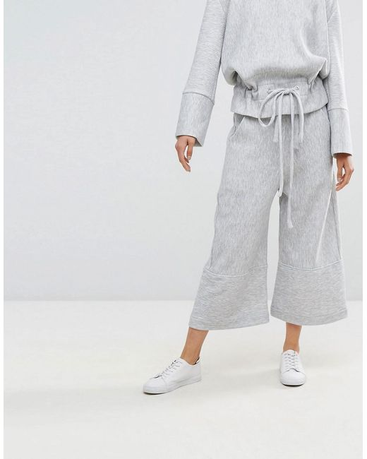 House Of Sunny Wide Leg Cropped Trousers In Rib Co-Ord - Grey House of Sunny Cheap Pre Order zxAdhmQpUA