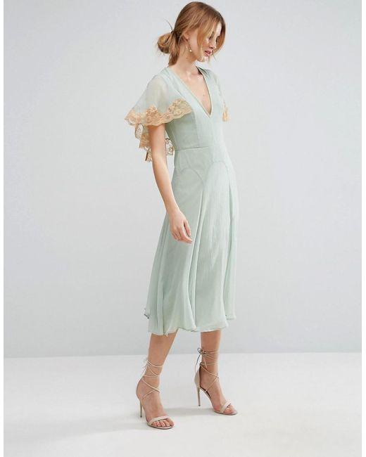 ASOS | Green Lace Cape Midi Dress | Lyst