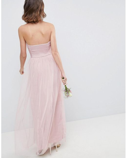 ... ASOS - Pink Design Bridesmaid Bandeau Tulle Maxi Dress - Lyst ...
