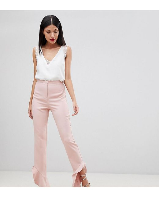 ASOS - Pink Tailored Soft Fluted Slim Trouser - Lyst