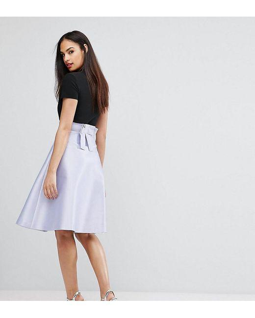 Vesper | Purple Bonded Satin Prom Skirt With Bow Back | Lyst