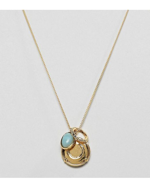 ASOS - Metallic Premium Gold Plated Necklace With Coin And Semi-precious Stone Pendants - Lyst