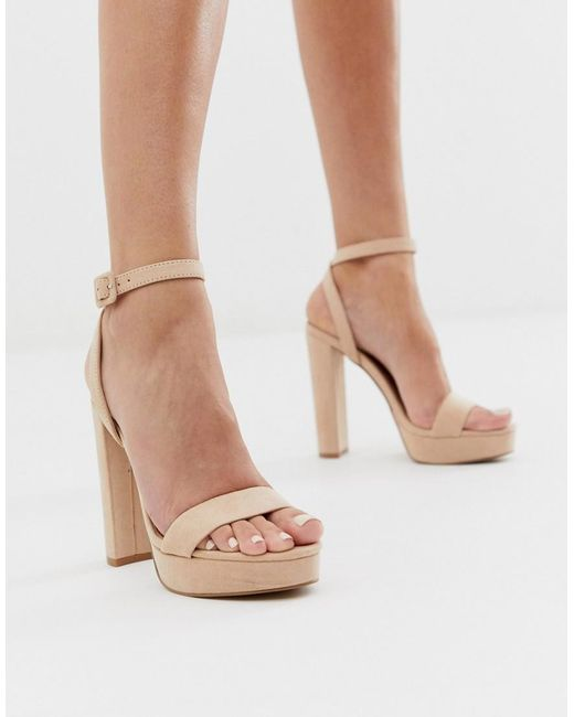 172b088df491a ASOS - Natural Nutshell Platform Barely There Heeled Sandals In Beige - Lyst  ...