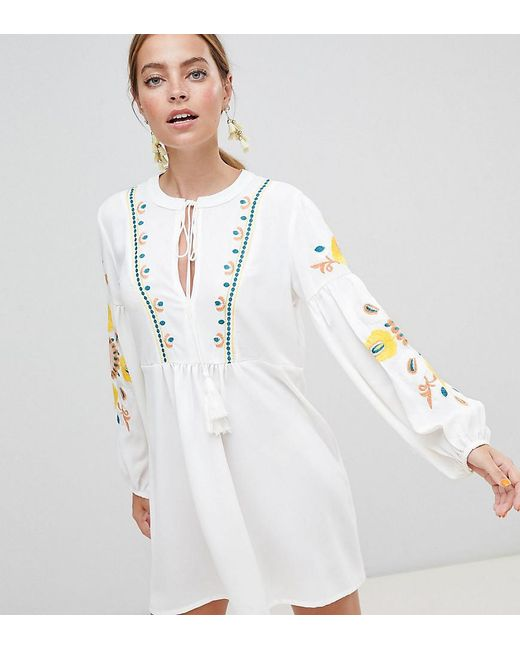 86f409918b2d4 Boohoo - White Embroidered Smock Dress - Lyst ...