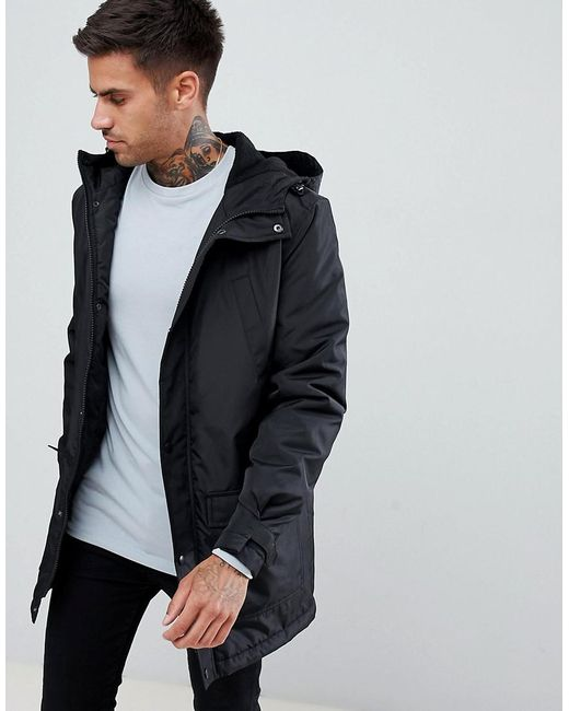 ASOS DESIGN - Padded Parka In Black for Men - Lyst
