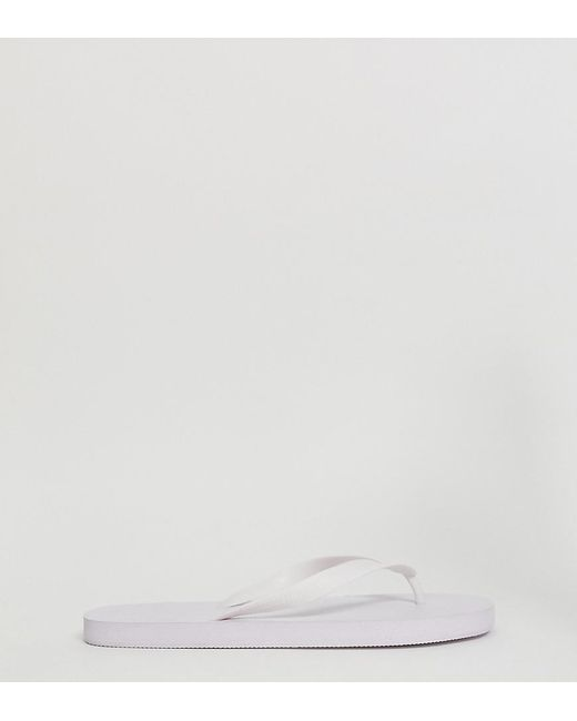 88715bf65fd Lyst - ASOS Wide Fit Flip Flops In White in White for Men