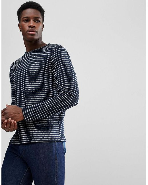 SELECTED - Blue Striped Towelling Sweat for Men - Lyst