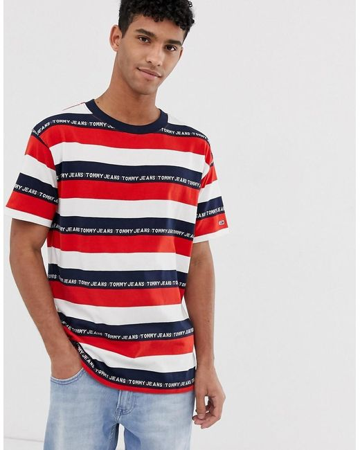 7a73f261 Tommy Hilfiger Repeat Logo Striped T-shirt In Red/navy/white in Red ...