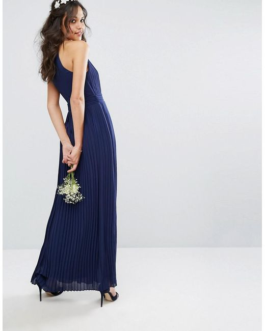 802f39a5 ... TFNC London - Blue Bridesmaid Exclusive High Neck Pleated Maxi Dress In  Navy - Lyst