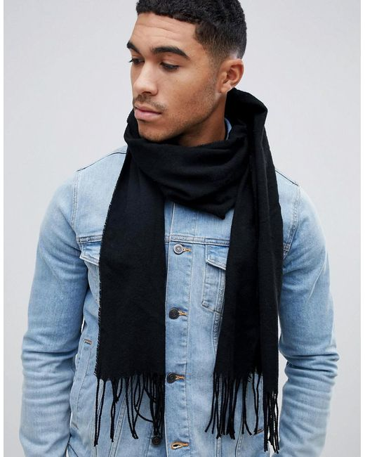 ASOS - Asos Woven Scarf In Black Recycled Polyester for Men - Lyst