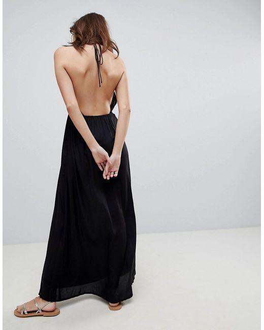 fa0135f755 ... ASOS - Black Woven Tie Front Maxi Beach Dress - Lyst