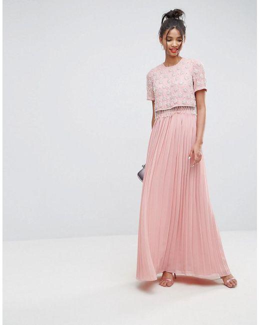 ASOS   Pink Embellished Short Sleeve Pleated Maxi Dress   Lyst