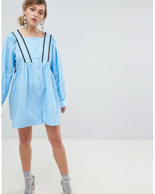 Sister Jane Babydoll Dress With Button Front And Cross Back Detail - Blue Sister Jane 5PvCuXa4rq