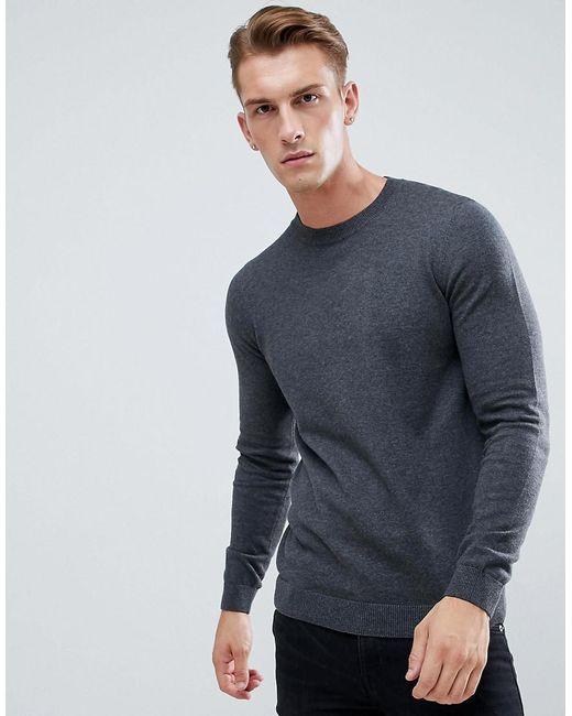 New Look - Gray Crew Neck Jumper In Grey for Men - Lyst