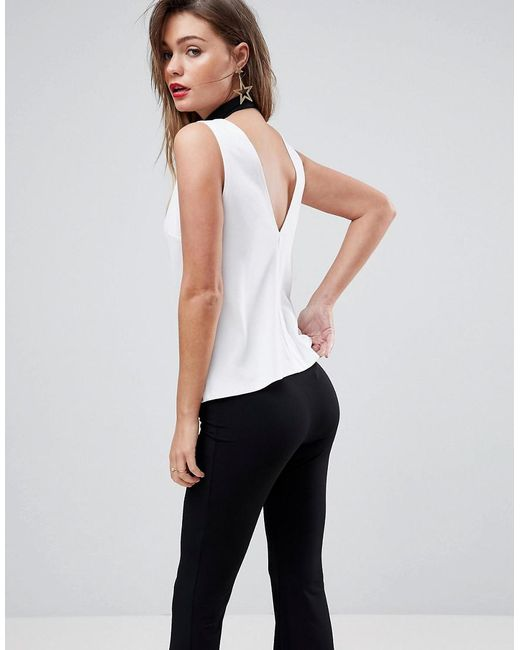 ASOS - White Asos Top In Ponte With V Back - Lyst