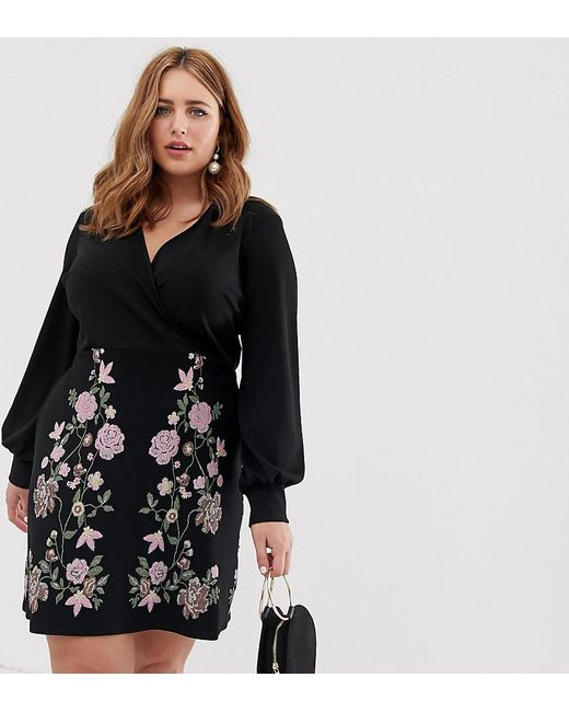 143ed1c300b ASOS - Black Asos Design Curve Puff Print Mini Pencil Dress - Lyst ...
