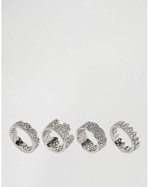ASOS | Metallic Pack Of 4 Filigree Rings | Lyst