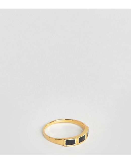 ASOS - Metallic Sterling Silver With Gold Plate Ring With Black Enamel - Lyst