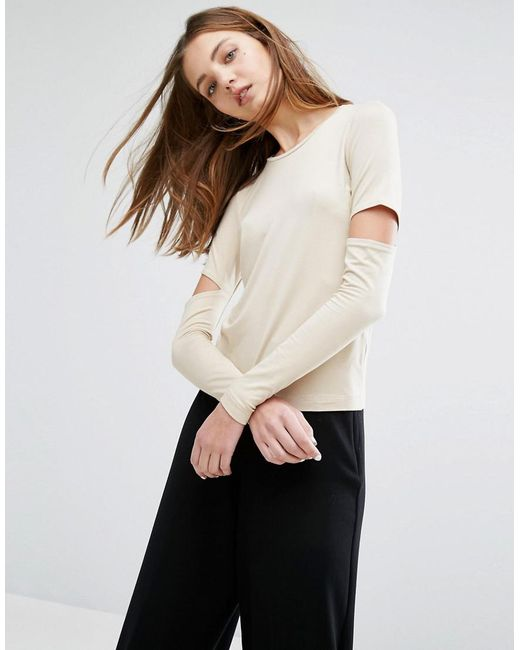 Weekday - Natural Cut Out Sleeve Top - Lyst