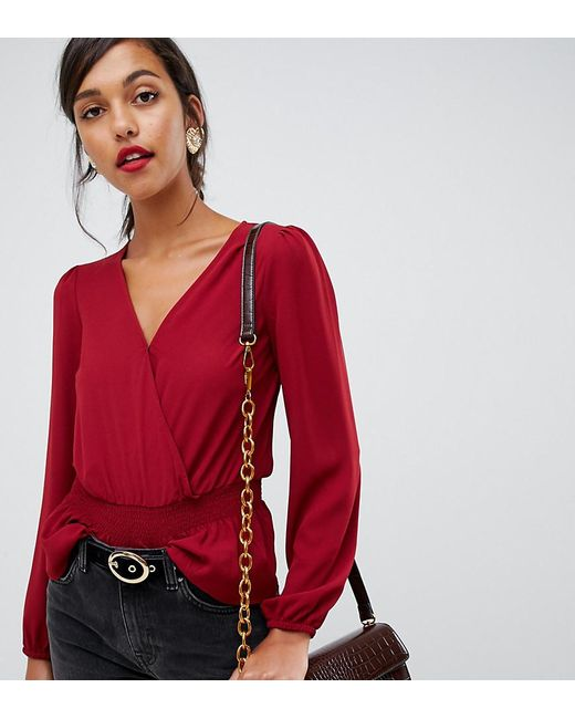 a6030739ef2acf Oasis Wrap Front Blouse In Red in Red - Lyst