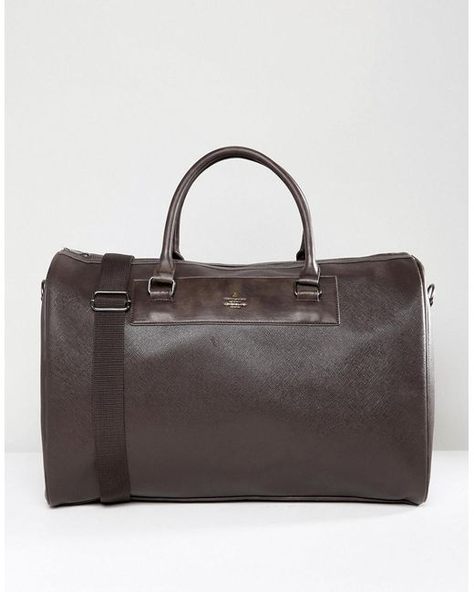 ASOS - Holdall In Brown Faux Leather for Men - Lyst