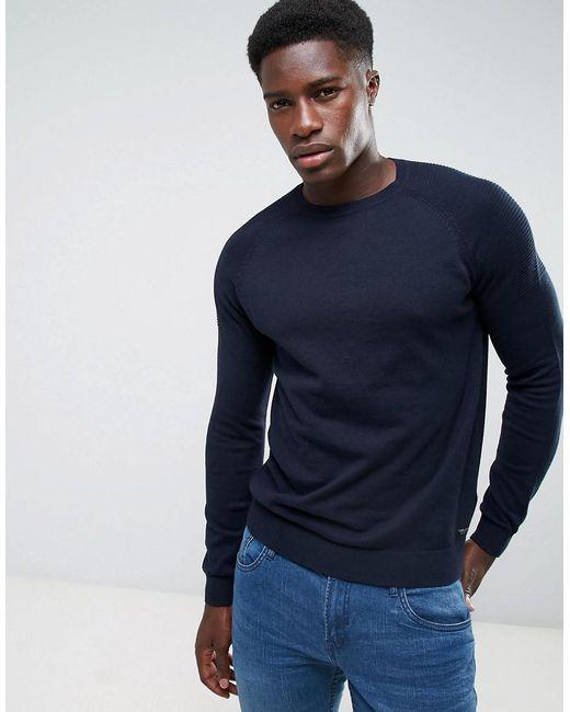 Threadbare - Blue Textured Shoulder Knit Jumper for Men - Lyst