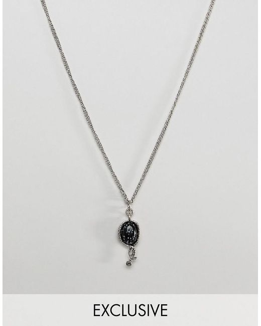 Reclaimed (vintage) - Metallic Inspired Necklace With Snake Charm In Silver Exclusive At Asos for Men - Lyst
