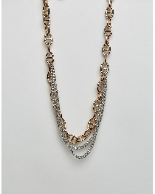 Dyrberg/Kern - Metallic Dyrberg/kern Multi Layered Link Necklace - Lyst