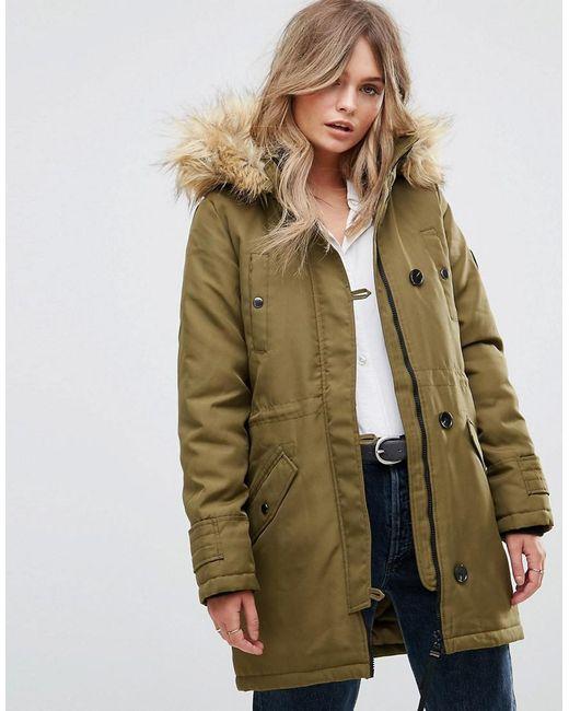 Vero moda Faux Fur Hooded Parka in Green | Lyst