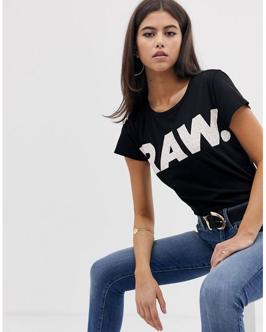 879ff47887a Lyst - G-Star RAW Oluva Organic Cotton T-shirt With Raw Logo in Black