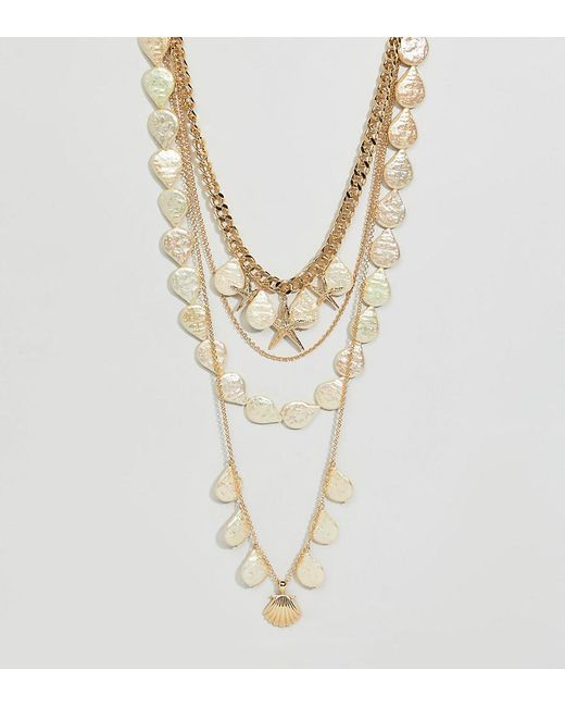 ASOS - Metallic Asos Design Curve Exclusive Multirow Necklace With Shell And Pearl Charms In Gold - Lyst