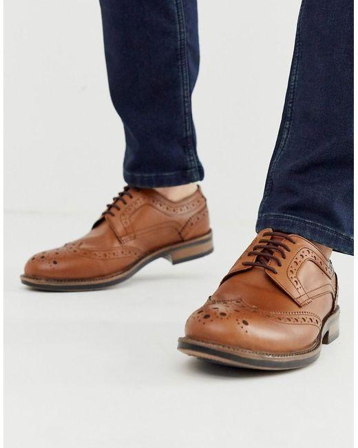 Светло-коричневые Кожаные Броги На Массивной Подошве - Рыжий Redfoot для него, цвет: Brown
