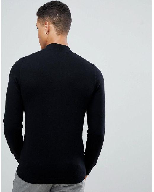 73d666af6f29 ... ASOS - Muscle Fit Merino Wool Turtle Neck Jumper In Black for Men - Lyst