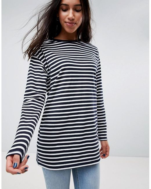 ASOS - Blue Asos Stripe T-shirt With Long Sleeve In Oversize Fit - Lyst