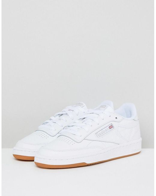 ... Reebok - Classic Club C 85 Trainers In White Leather With Gum Sole -  Lyst e0de39c4f