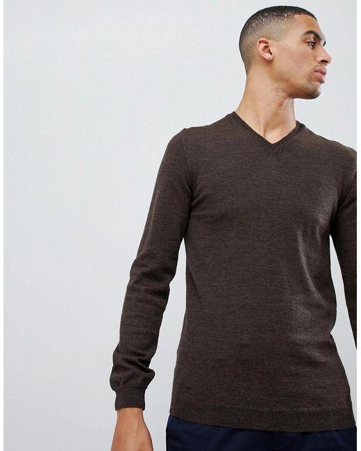 ASOS - Asos Merino V-neck Sweater In Brown for Men - Lyst