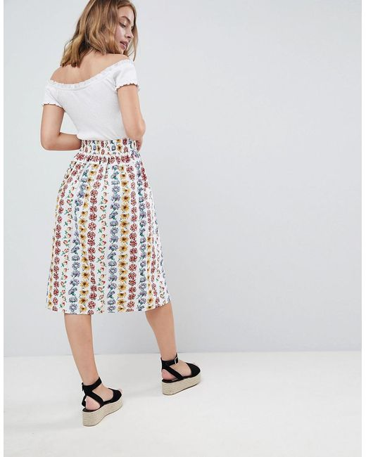 ea28e1c8f7 ... ASOS - Multicolor Cotton Midi Skirt With Button Front In Floral Print -  Lyst