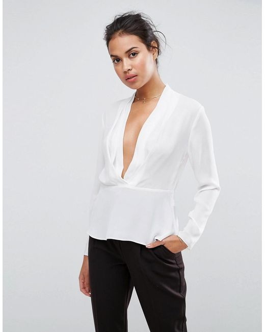 ASOS - White Design Waisted Plunge Top - Lyst