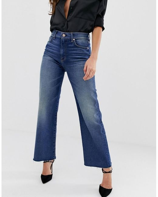 d0e1f6c5b74 7 For All Mankind - Blue Alexa Cropped Jeans With Raw Hem - Lyst ...