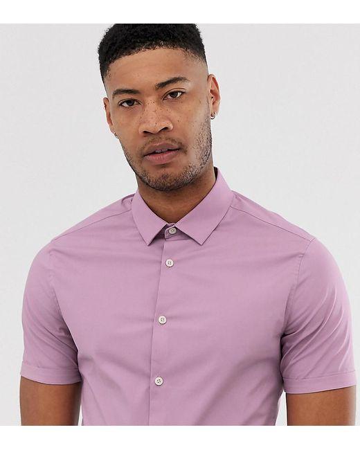 ASOS Tall Skinny Fit Shirt In Pink for men