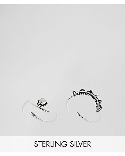 ASOS - Metallic Pack Of 2 Sterling Silver Moonstone And Engraved Stacking Rings - Lyst