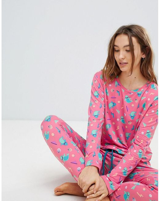 Chelsea Peers - Pink Miami Shark Long Pyjamas - Lyst