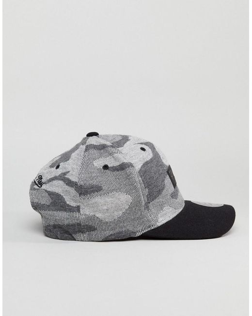 110 Adjustable Baseball Cap in Camo Knit - Black Mitchell & Ness