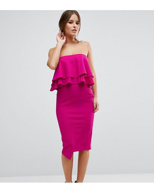 ASOS - Purple Double Ruffle Bandeau Pencil Dress In Texture - Lyst