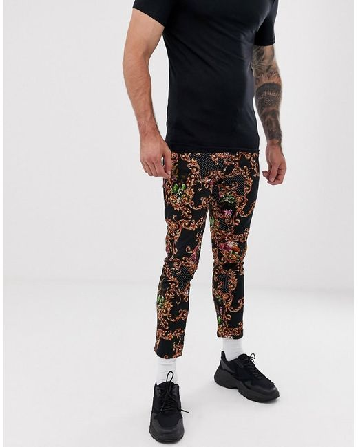 ASOS Black Skinny Cropped Trousers In Abstract Baroque Print for men