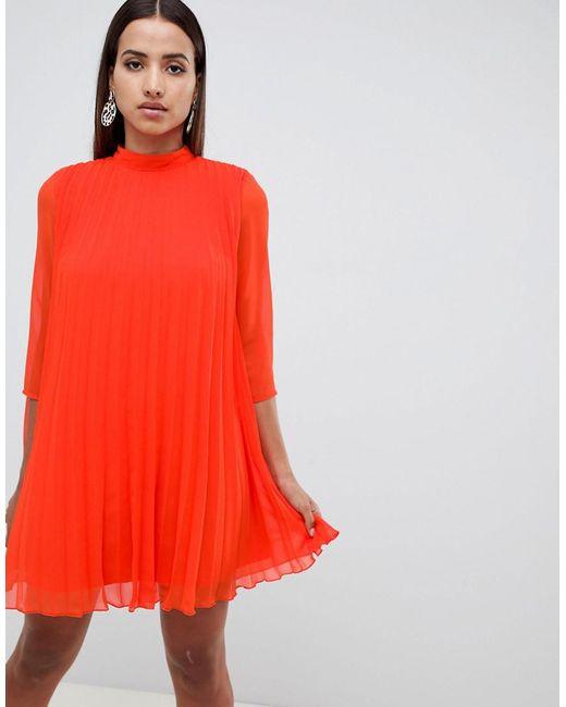 b1774a0dd3c ASOS - Orange Pleated Trapeze Mini Dress - Lyst ...