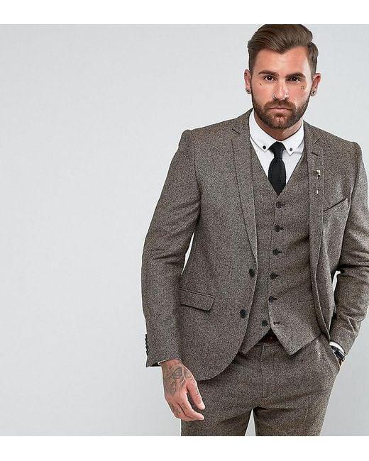 Heart & Dagger - Brown Slim Suit Jacket In Herringbone Tweed for Men - Lyst
